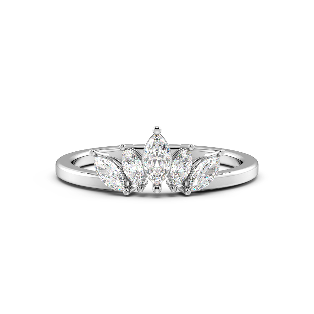 Marquise Shape 5 Stone Designer Diamond Rings (6.8mm)