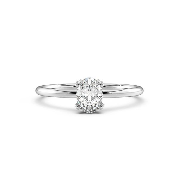 Oval Shape Tri Claws Solitaire Diamond Engagement Ring