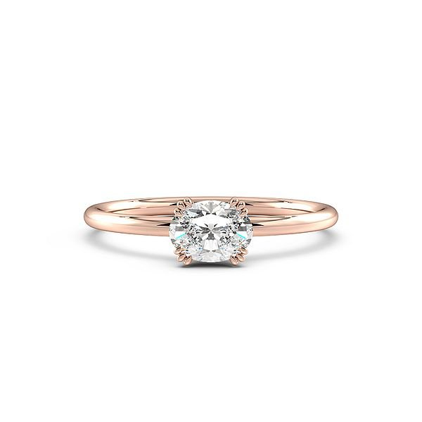 Oval Shape Tri Claws Vertical Delicate Solitaire Diamond Engagement Ring