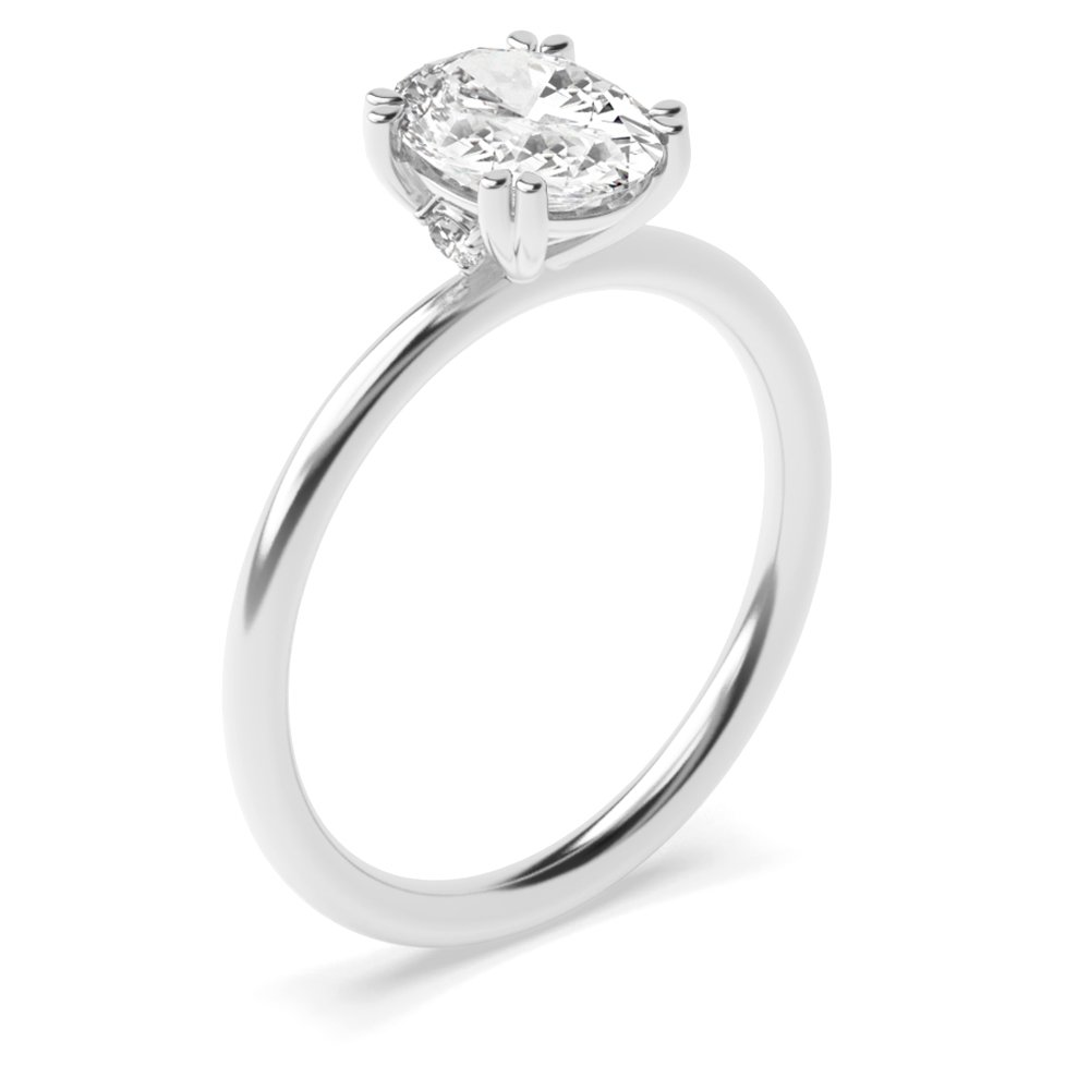 Oval Shape Tri Claws Delicate Solitaire Diamond Engagement Ring