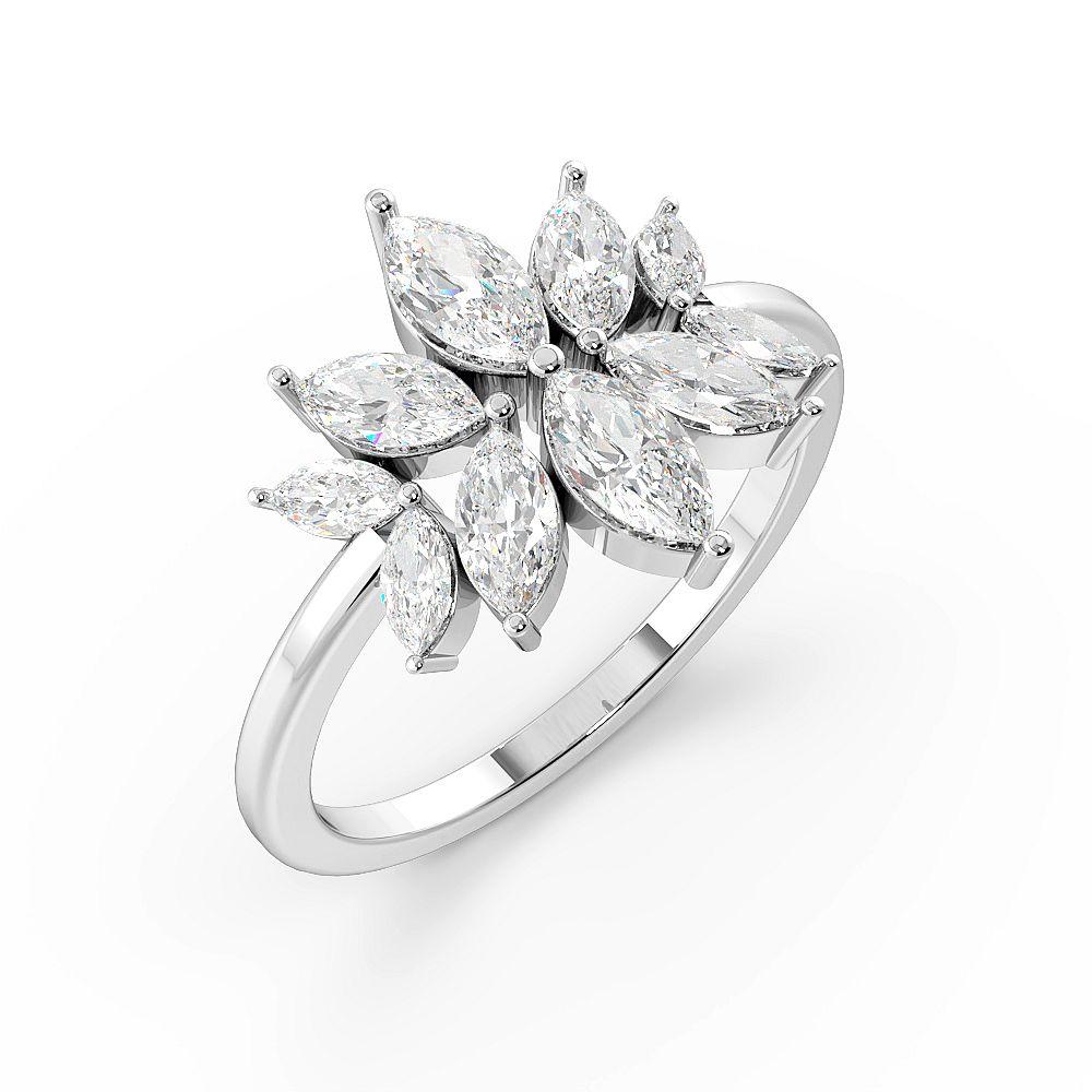 Marquise Shape Modern Designer Cluster Diamond Rings (14mm)