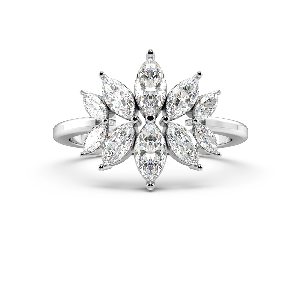 Marquise Shape Modern Designer Cluster Diamond Rings (14mm)