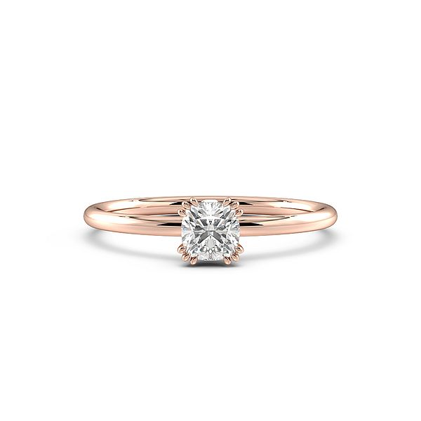 Cushion Cut Tri Claws Delicate Solitaire Diamond Engagement Ring