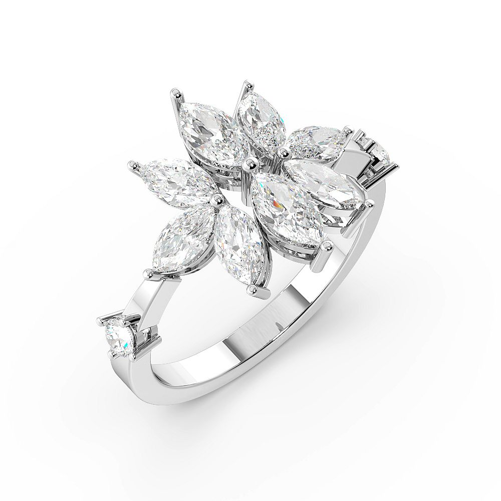 Marquise Shape Cluster Diamond Rings for Women (14mm)