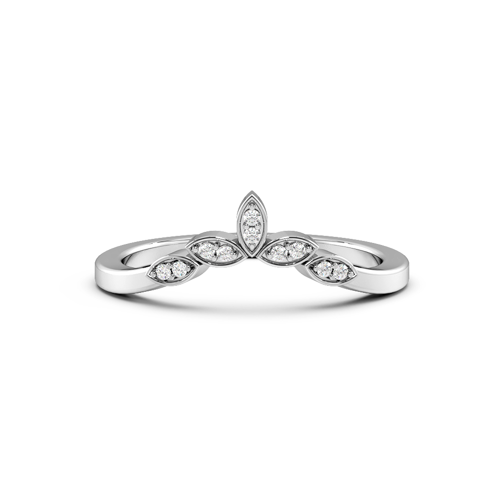 Pave Setting Designer Wishbone Half Eternity Diamond Rings (1.6mm)