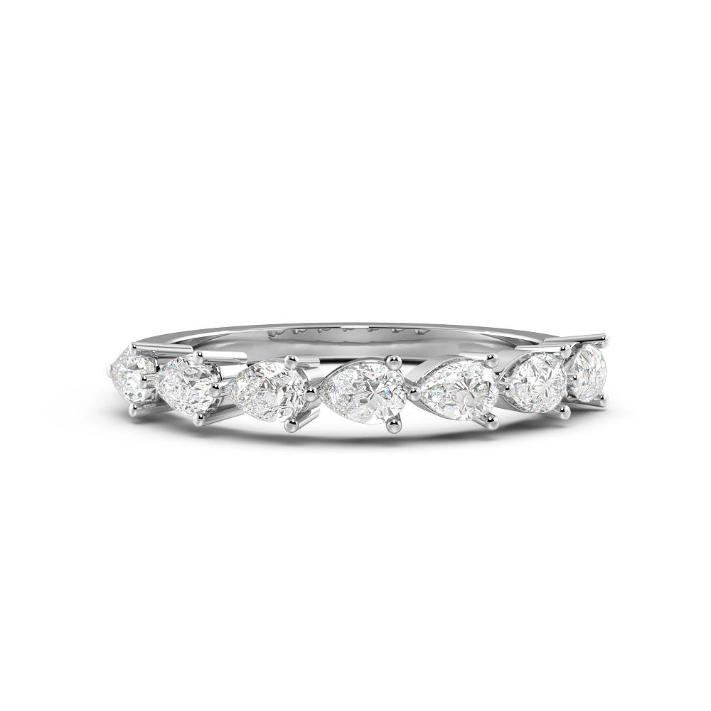 Pear Shape Single Rows Half Eternity Diamond Rings (3.3mm)