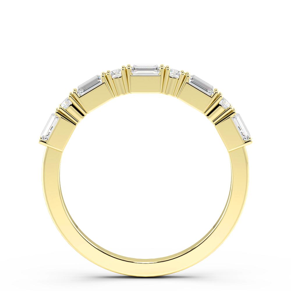 Baguette and Round Alternate Half Eternity Diamond Rings (2.2mm)