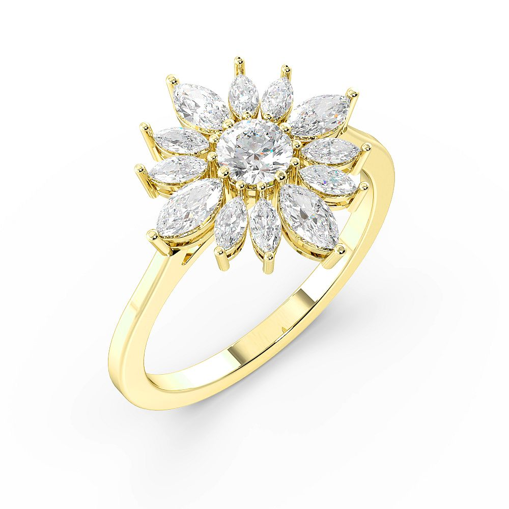 Marquise and Round Flower Cluster Designer Diamond Rings (15mm)