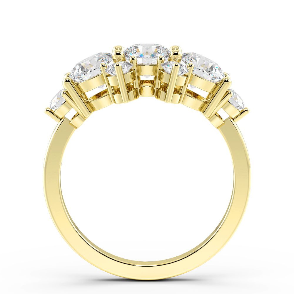 Round Cut Big Cluster Diamond Rings for Women (10.7mm)