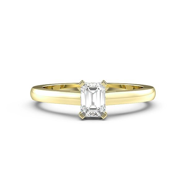 emerald Low Setting Solitaire Diamond Engagement Ring
