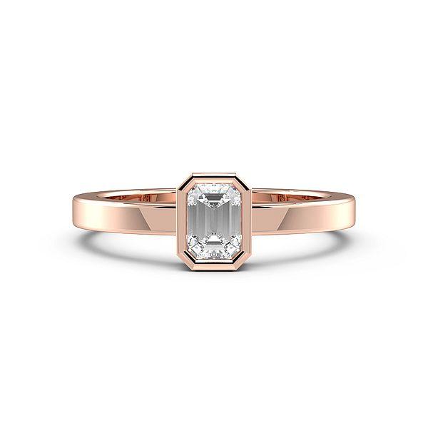 Emerald Bezel Setting Solid Shoulder Solitaire Engagement Ring