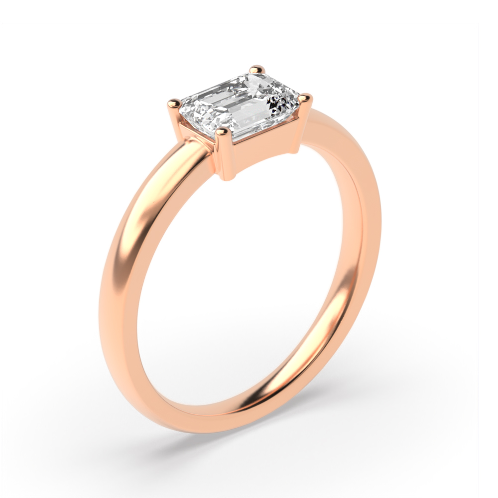 Emerald Solitaire Diamond Engagement Ring for Women