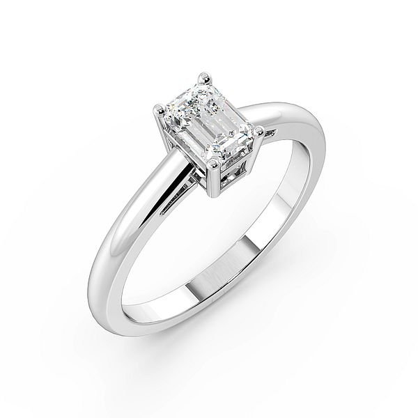 Emerald High Set Solitaire Diamond Engagement Ring