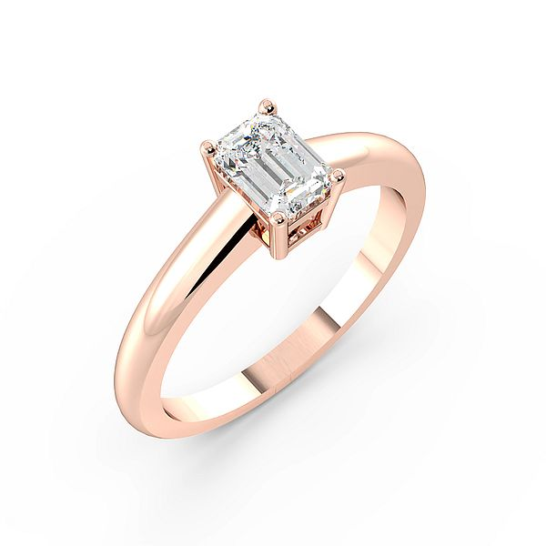 Emerald Cut Round Band Solitaire Diamond Engagement Ring