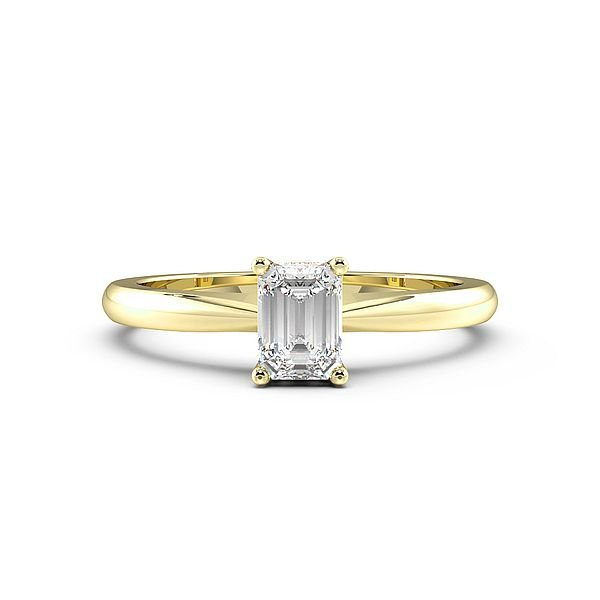 Emerald Tapering Shoulder Solitaire Diamond Engagement Ring