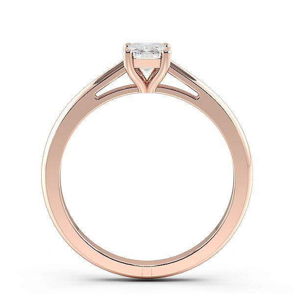 Emerald Split Tapering Shoulder Solitaire Diamond Engagement Ring
