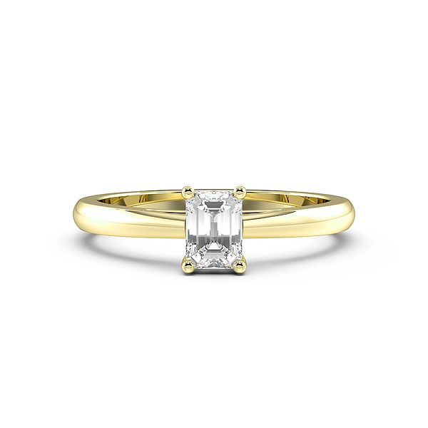 Emerald Solid Shoulder Solitaire Diamond Engagement Ring