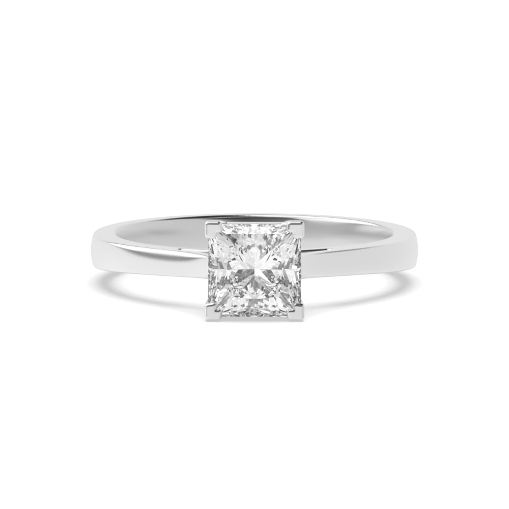Princess Solitaire Diamond Engagement Ring In Corner Claws Setting