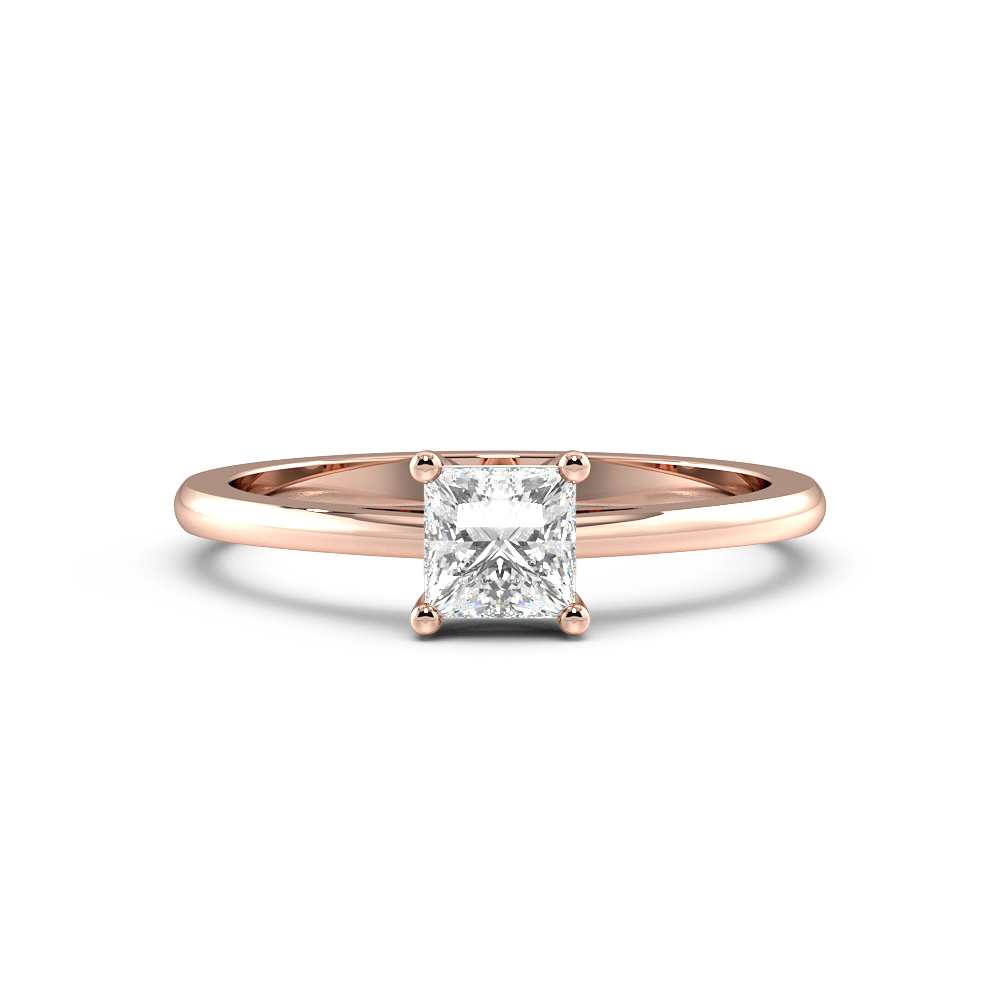 Princess Solitaire Diamond Engagement Ring With Tapering Shoulder