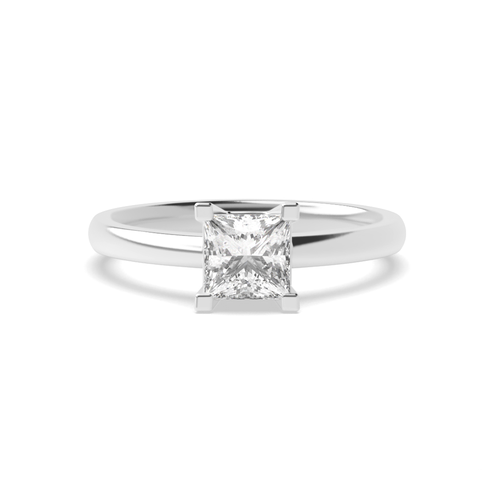 Princess Solitaire Diamond Engagement Ring In U Open Setting