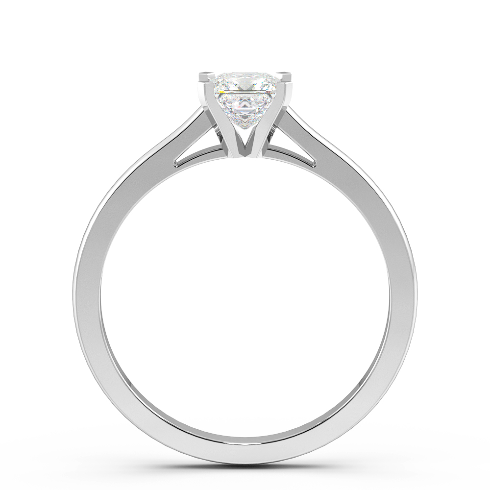 Princess Solitaire Diamond Engagement Ring In 4 Claws High Set