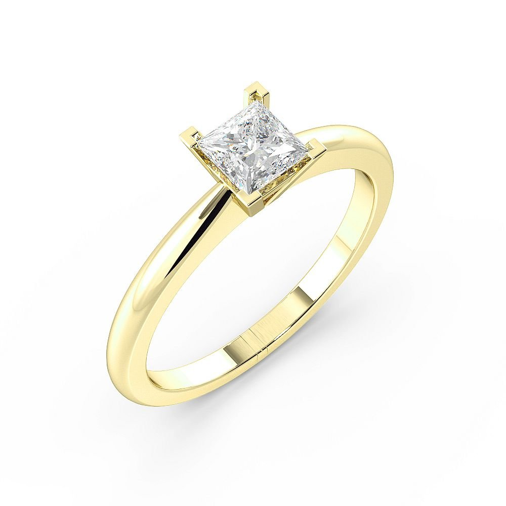 Princess Solitaire Diamond Engagement Ring In High Set Corner Claws