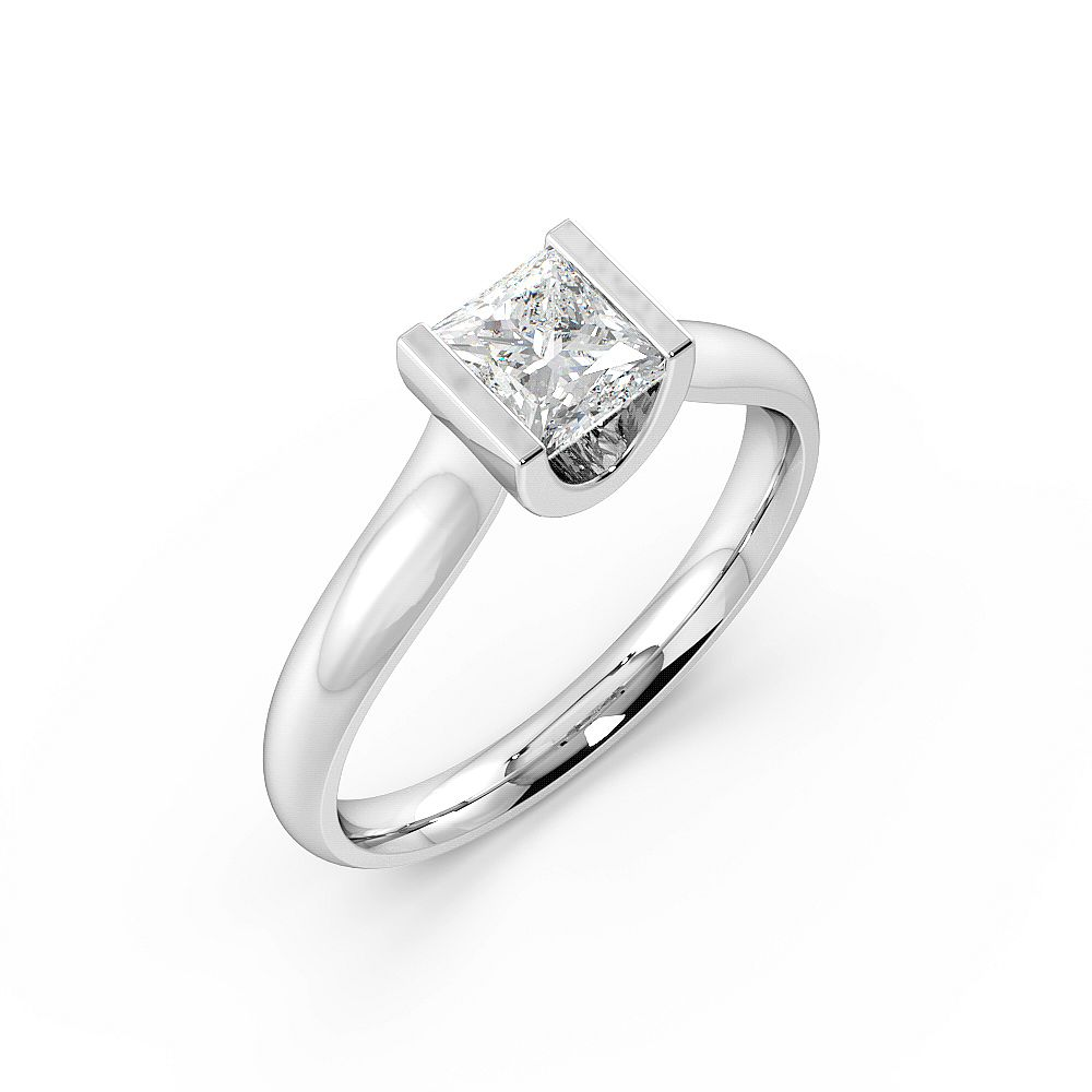 Princess Solitaire Diamond Engagement Ring In Channel Setting