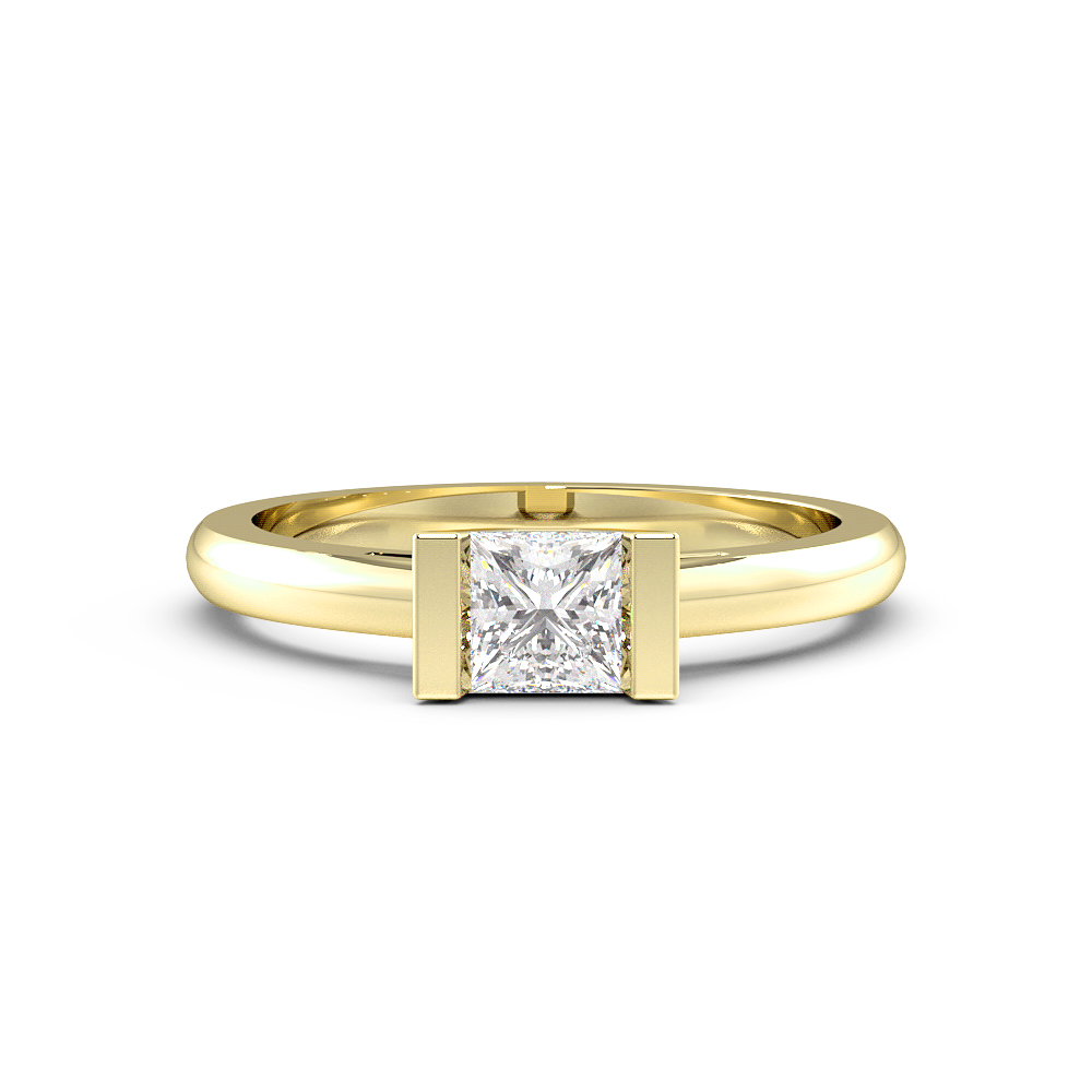Princess Solitaire Diamond Engagement Ring In Bar Setting