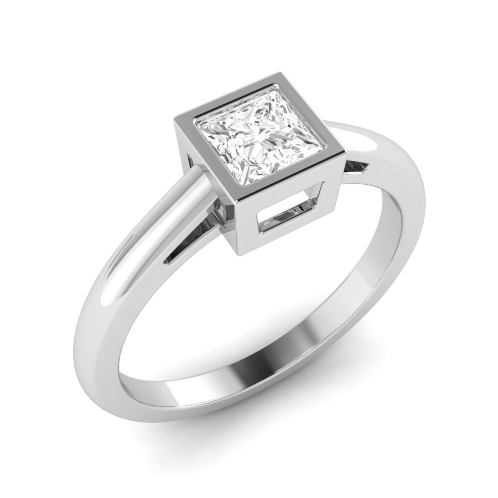Princess Engagement Ring With Open Shoulder Solitaire Diamond