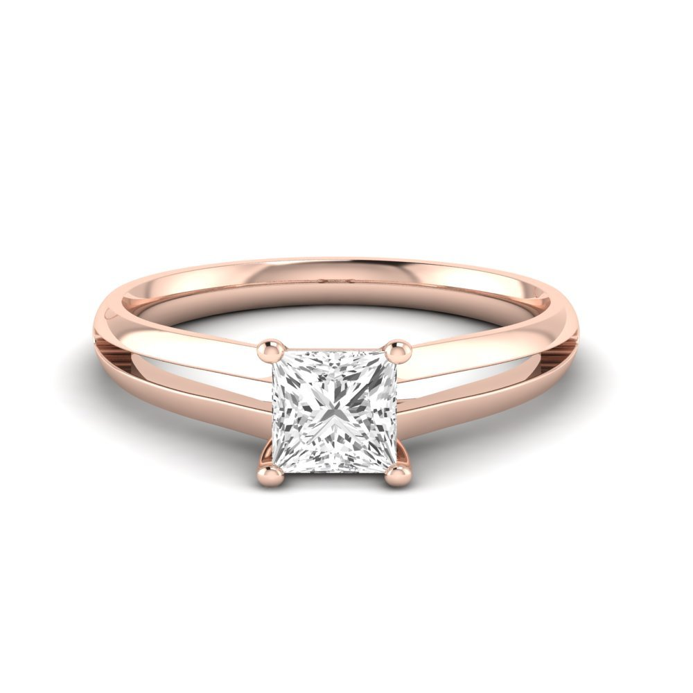 Princess Engagement Ring With Cross Over Claws Solitaire Diamond