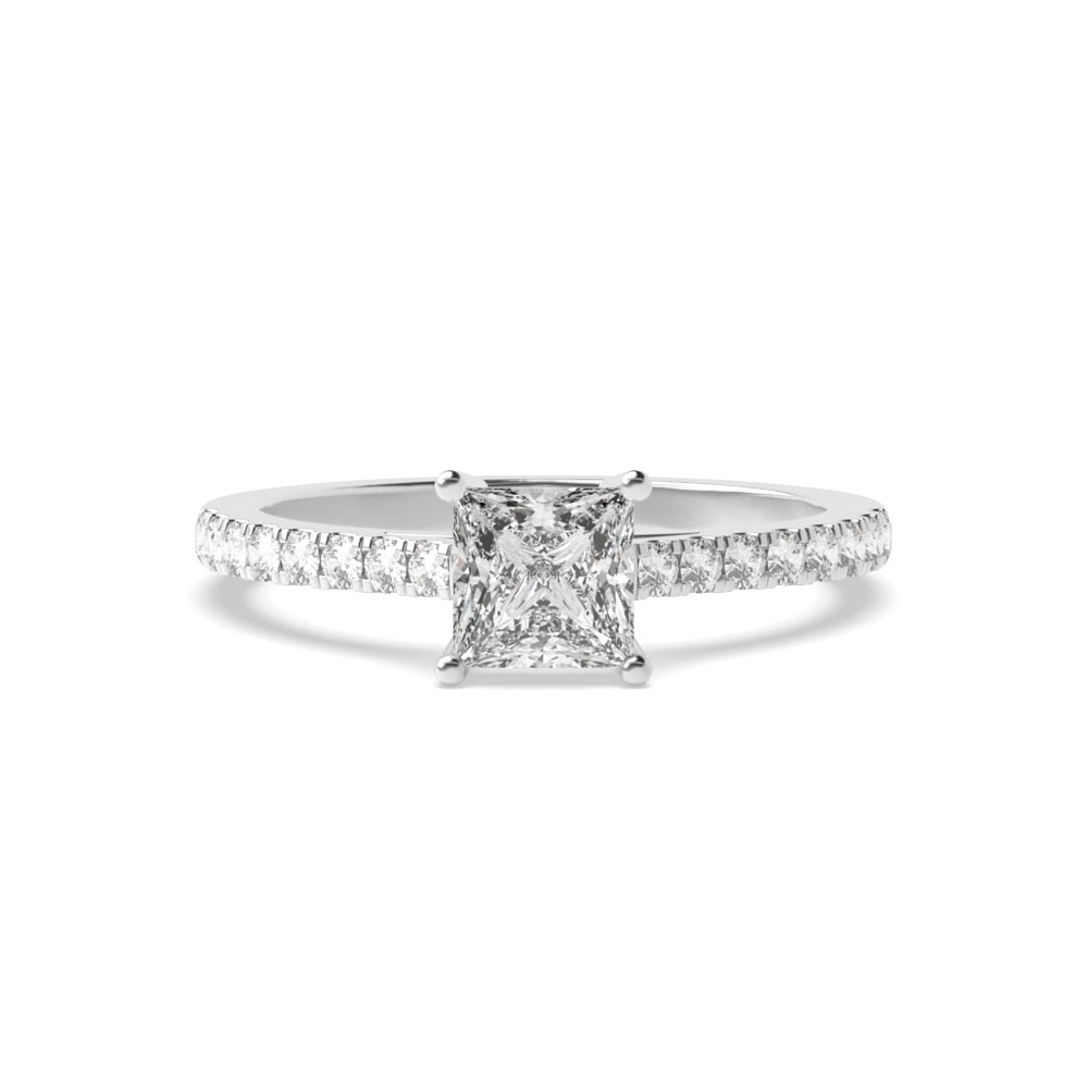 Princess Engagement Ring With Basket Set Diamond