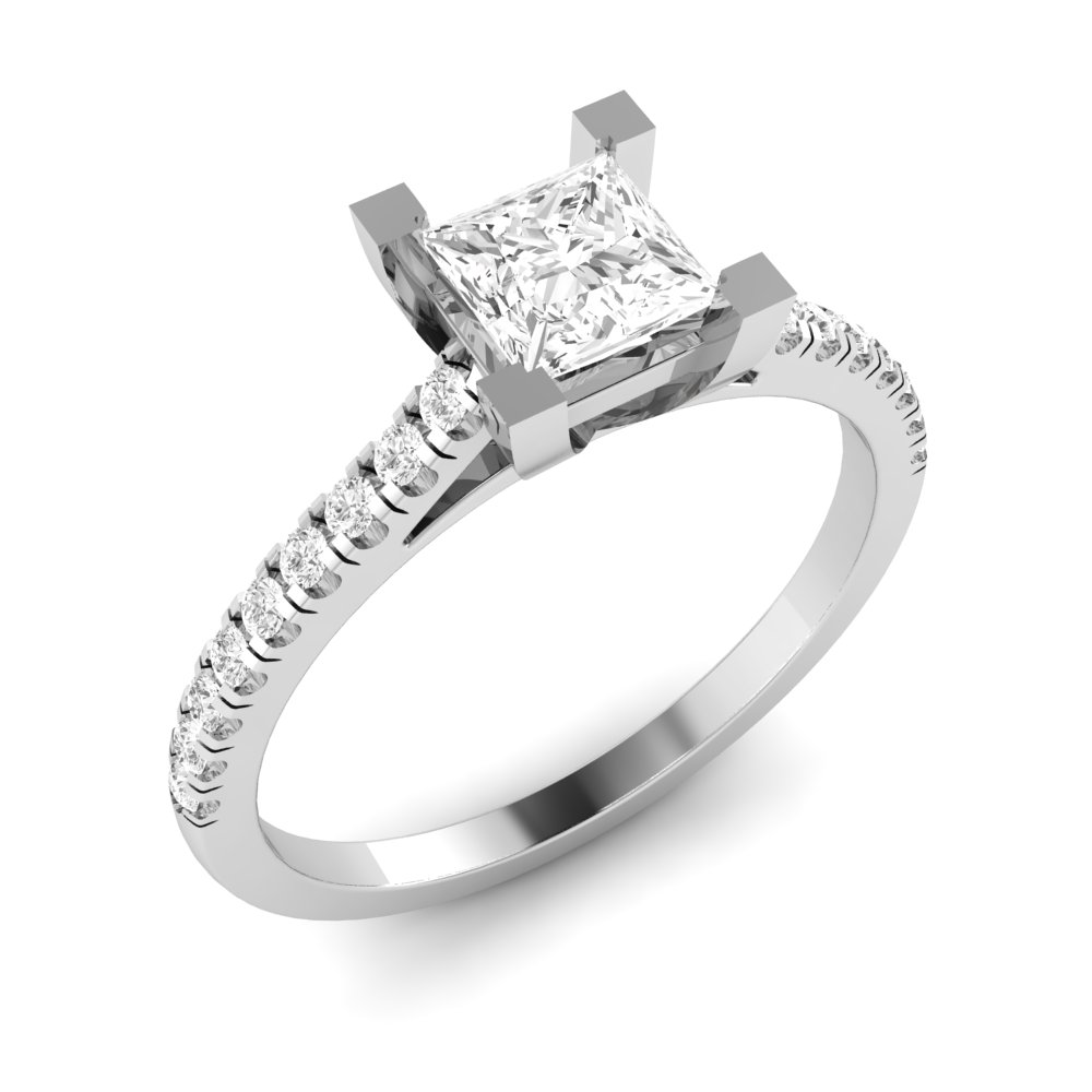 Princess Engagement Ring With Delicate Shoulder Set Diamond
