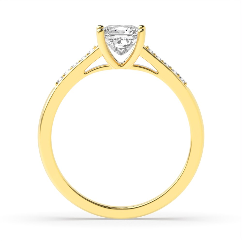 Princess Engagement Ring With Open Setting Shoulder Set Diamond
