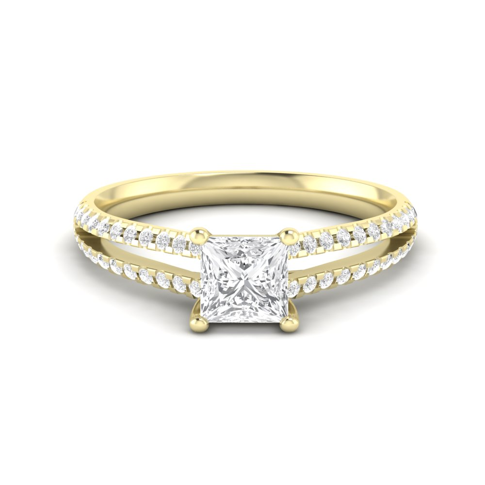 Princess Engagement Ring With Two Rows Side diamonds