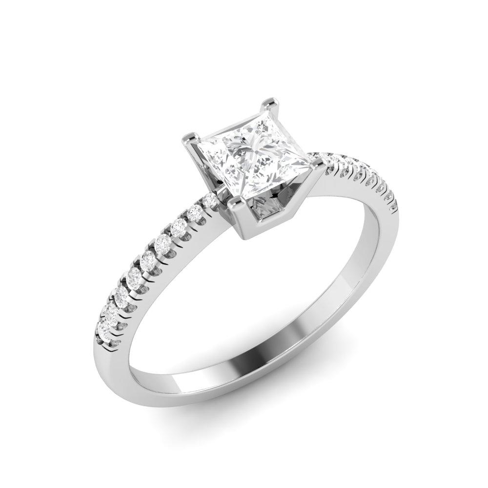 Princess Engagement Ring With U Setting Shoulder Set Diamond