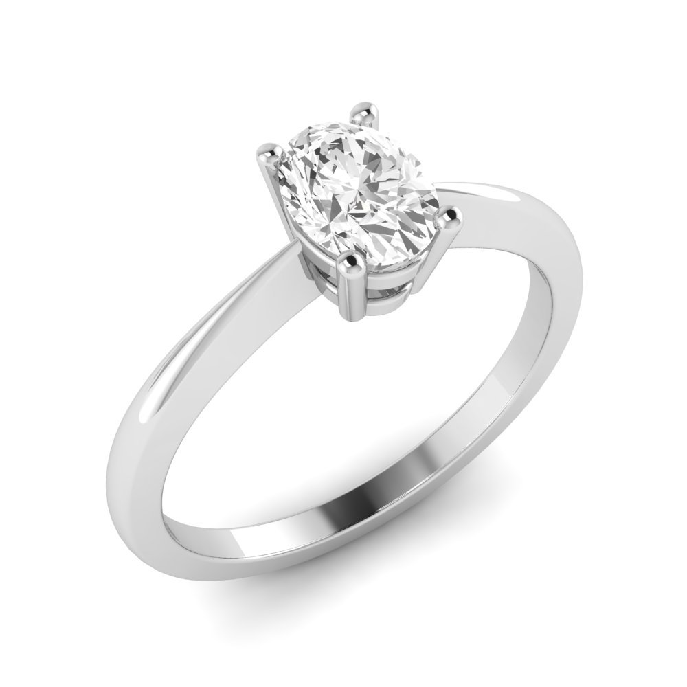 Basket Set Oval Solitaire Diamond Engagement Rings