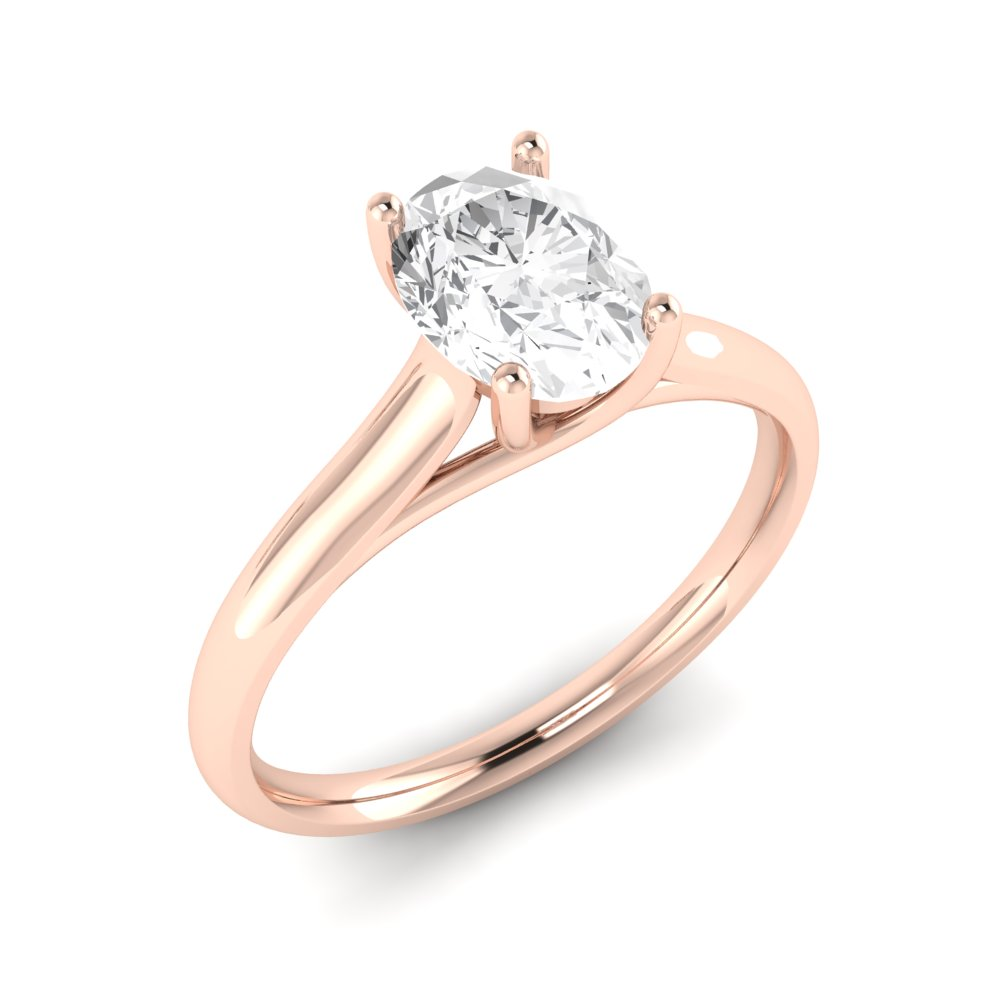 Cross Ovar Claws Oval Solitaire Diamond Engagement Rings