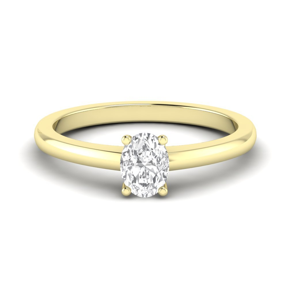 Low Set Oval Solitaire Diamond Engagement Rings