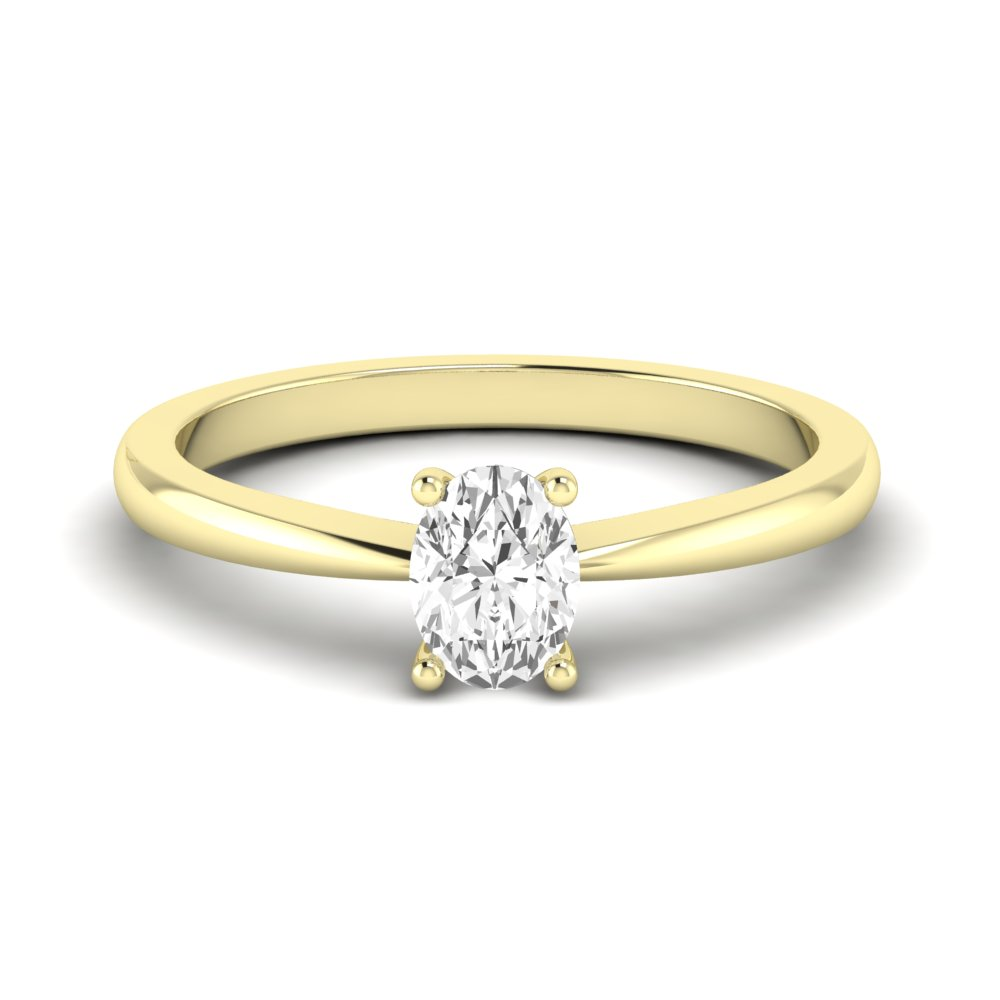 Tapering  Shoulder Oval Solitaire Diamond Engagement Rings