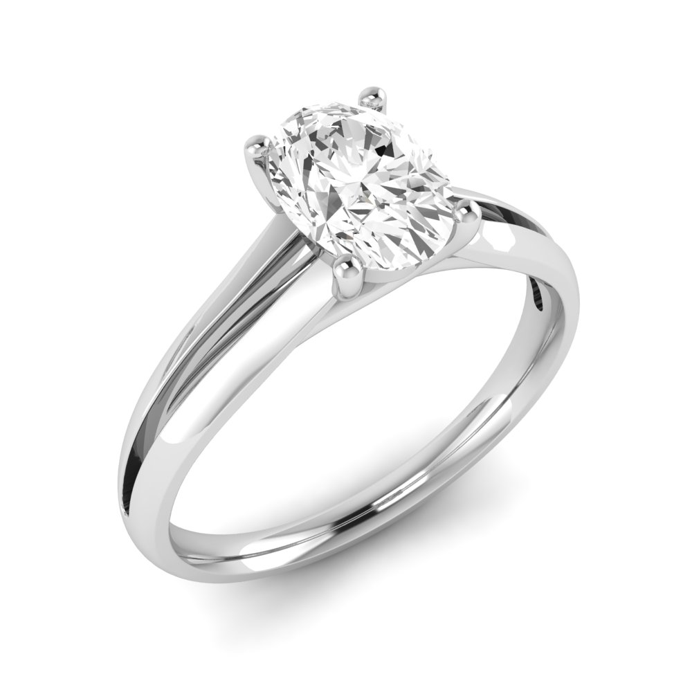 Center Row Oval Solitaire Diamond Engagement Rings