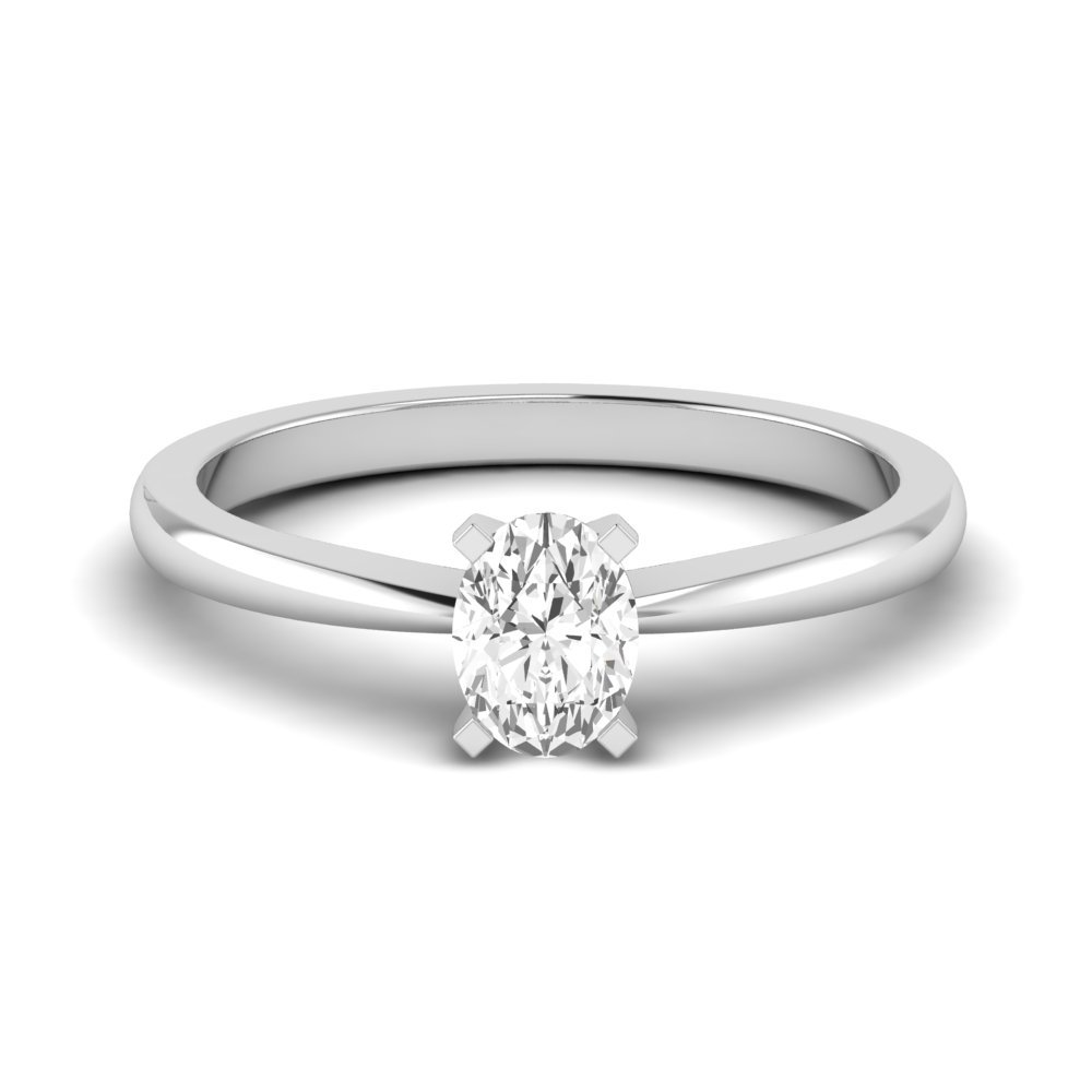 Square Tulip Claws Oval Solitaire Diamond Engagement Rings