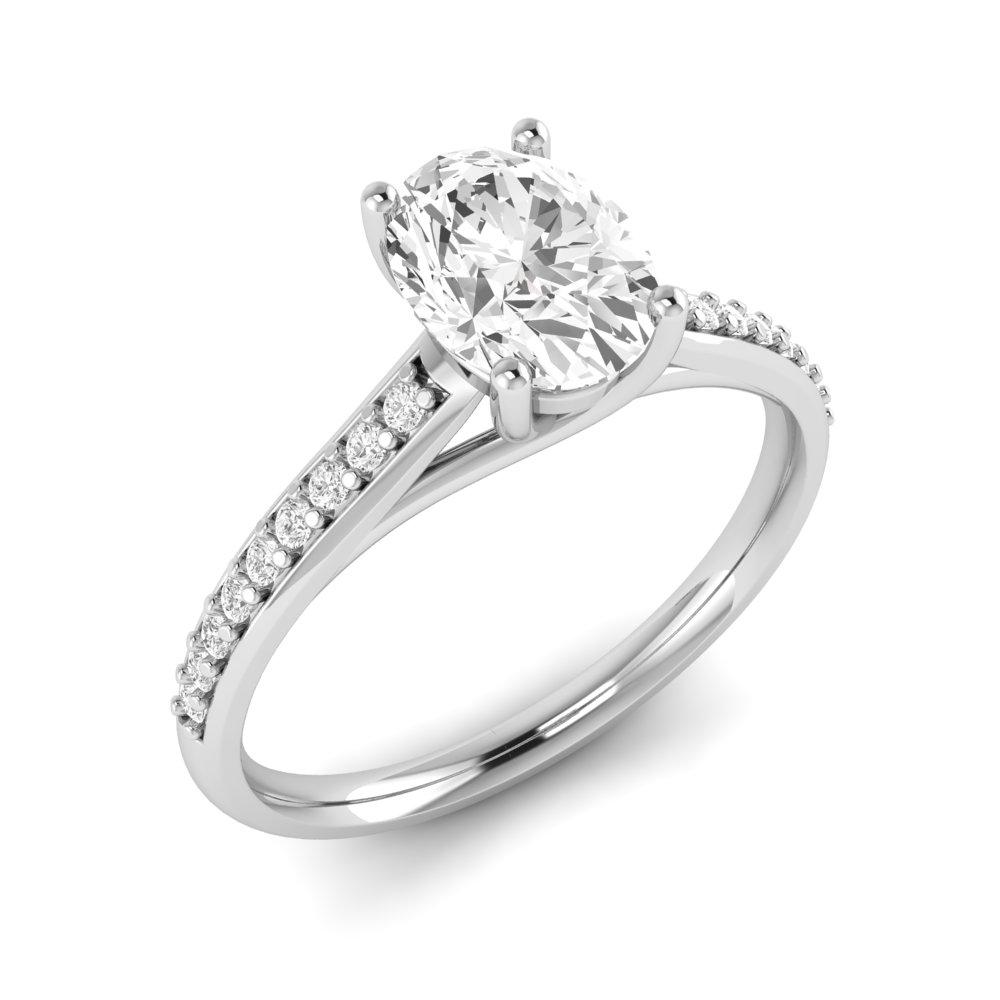 Cross Ovar Claws Oval Shoulder Set Diamond Engagement Rings