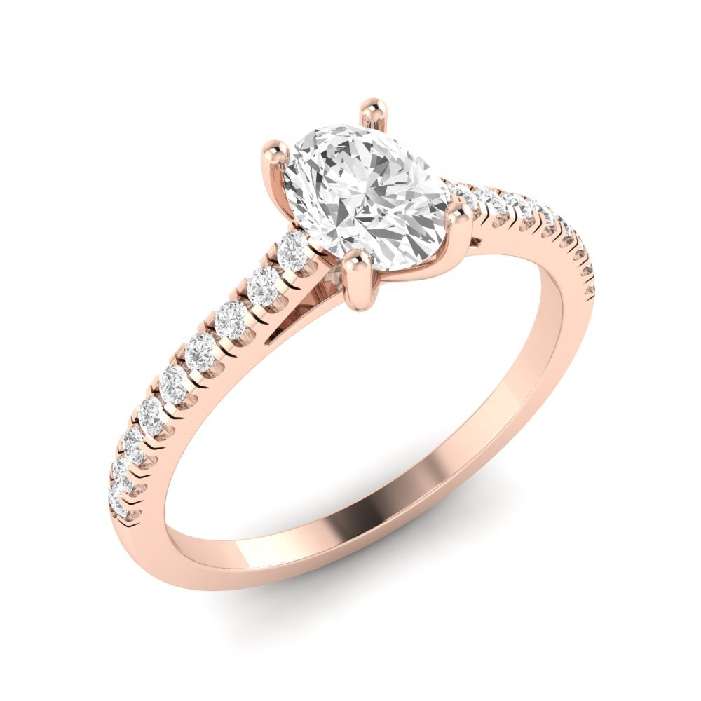 Delicate Oval Shoulder Set Diamond Engagement Rings