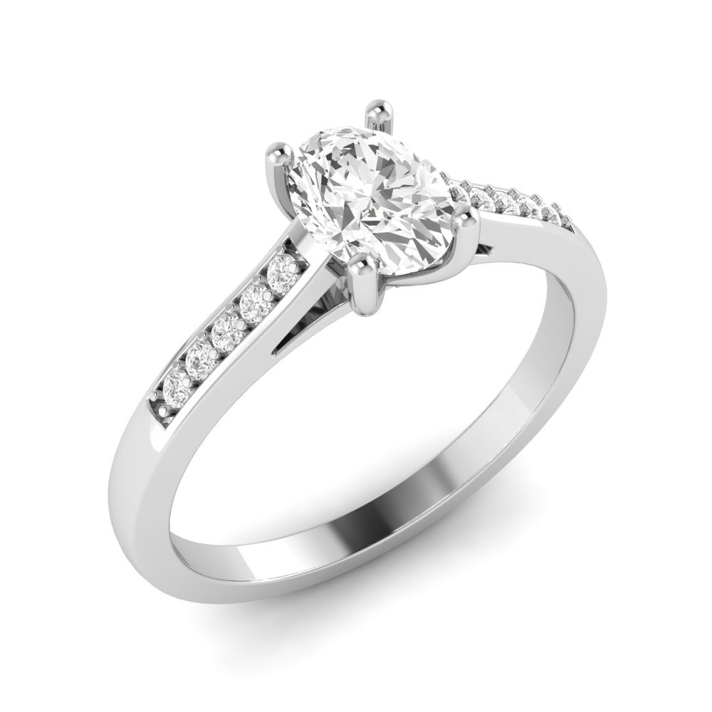 Classic Open Setting Oval Shoulder Set Diamond Engagement Rings