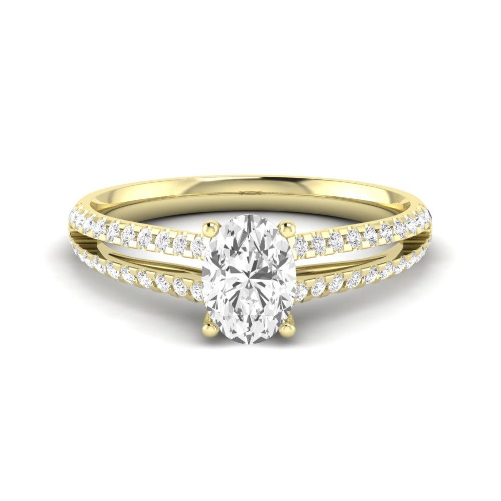 Center Row Oval Shoulder Set Diamond Engagement Rings