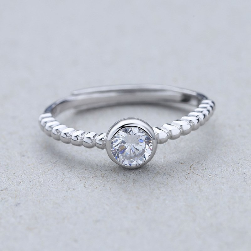 Bezel Setting Unique Diamond Solitaire Engagement Ring